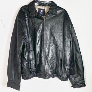 Chaps black leather jacket men's XL
